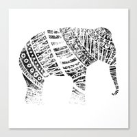 Endangered elephant - whiteout Canvas Print