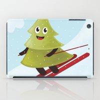 Happy Pine Tree on Ski iPad Case