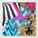 Fashion | Chic aztec pink teal zebra stripes leopard pattern Canvas Print