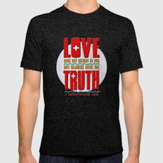 Love & Truth Mens Fitted Tee Tri-Black SMALL