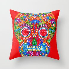 A really colourful skull Throw Pillow