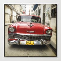 Vintage Red American Car on the Streets of Havana. Canvas Print