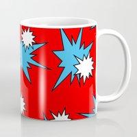 Stars (Blue & White on Red) Mug