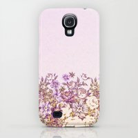 Galaxy S4 Cases featuring floral decor in vintage tones by clemm