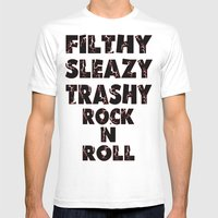 Rock N Roll Mens Fitted Tee White SMALL