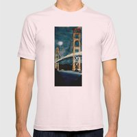Golden Gate Bridge at Night Mens Fitted Tee Light Pink SMALL