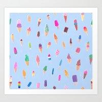 ice cream Art Prints featuring Ice Cream by leah reena goren
