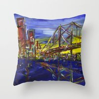 Philly Skyline with Ben Franklin Bridge Throw Pillow