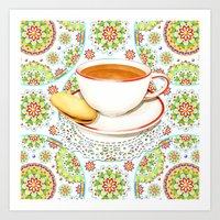 Cup Of Tea On Mandala Cl… Art Print