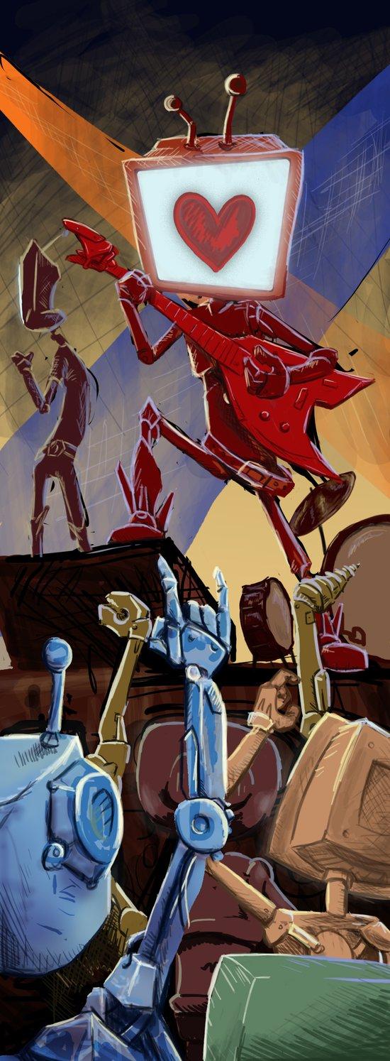 Rock Band Robot Art Print