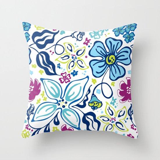 Fling Flowers Throw Pillow