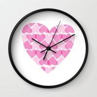 Pretty Ruby Heart Wall Clock