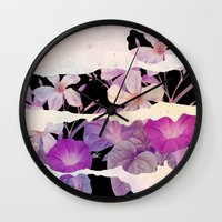 floral on torn paper Wall Clock
