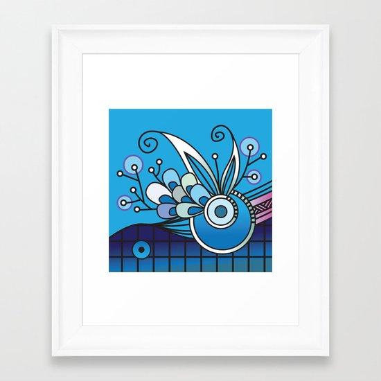 Ornate square zentangle, Ultramarine Blue Framed Art Print
