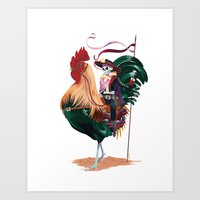 Rooster And Dead Rider Art Print