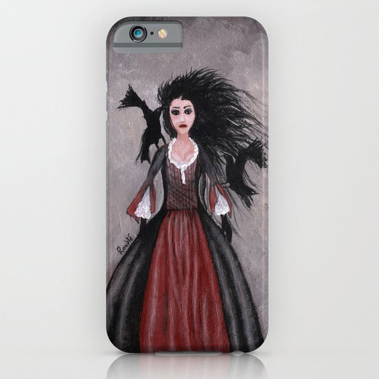 Little Black Haired Girl + Crows iPhone & iPod Case