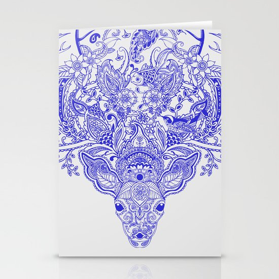 Little Blue Deer Stationery Card