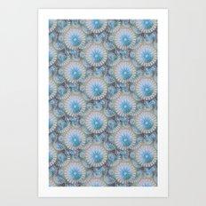 teal grey blossoms Art Print