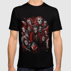 Jason Voorhees Friday the 13th Many faces of  Mens Fitted Tee Black SMALL