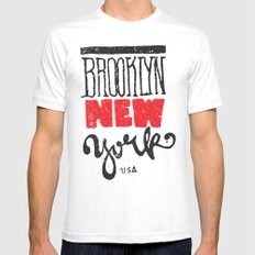 Brooklyn New York Mens Fitted Tee White SMALL