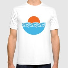 Japanese Tsunami  White Mens Fitted Tee SMALL