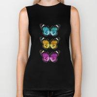 3 colorful butterflies Biker Tank