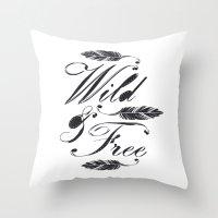 Wild & Free/Black-White Throw Pillow