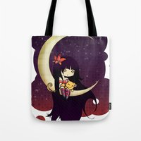 Golden Butterfly Moon Tote Bag
