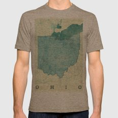 Ohio State Map Blue Vintage Mens Fitted Tee Tri-Coffee SMALL