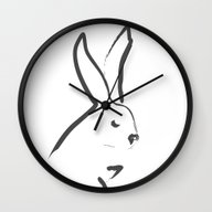 Wall Clock featuring Zen Snow Bunny by Budi Kwan
