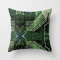 Circuit Board Very Green… Throw Pillow