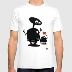 Robot Heart to Heart SMALL Mens Fitted Tee White