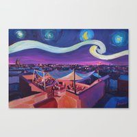 Starry Night in Marrakech   Van Gogh Inspirations on Fna Market Place in Morocco Canvas Print
