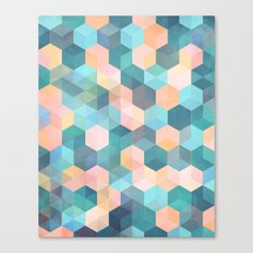 Child's Play 2 - hexagon pattern in soft blue, pink, peach & aqua Canvas Print