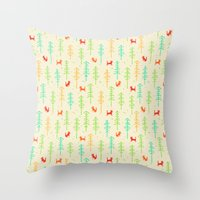 Foxes hiding in the forest Throw Pillow