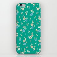 Blossom Ditsy In Emerald iPhone & iPod Skin