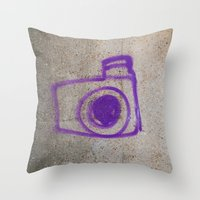 Purple Camera Graffiti Throw Pillow