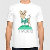 I'm Watching You Mens Fitted Tee White SMALL