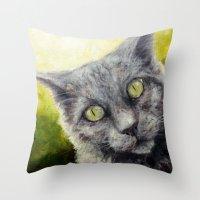 Kitty In The Summer Sun Throw Pillow