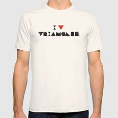I V TRIANGLES Mens Fitted Tee Natural SMALL