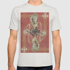 Queen Of Clubs Mens Fitted Tee Silver SMALL