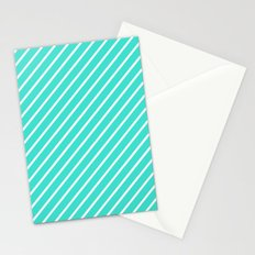 Diagonal Lines (White/Turquoise) Stationery Cards