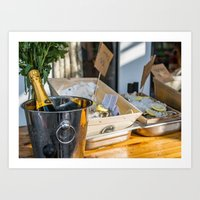 Oyster&Chanmpagne Art Print