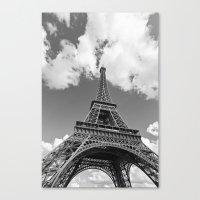 Eiffel Tower - Black and White Canvas Print