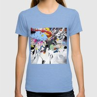 I Blame The Radio Waves Womens Fitted Tee Tri-Blue SMALL