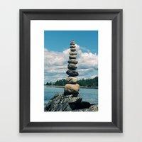 Leaning Tower Of Pebbles Framed Art Print