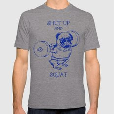 Pug Squat Mens Fitted Tee Tri-Grey SMALL