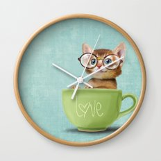 Kitten with glasses Wall Clock