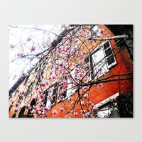 Flowers  and Philly Sky Canvas Print