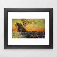 Big Boat Sunset Framed Art Print
